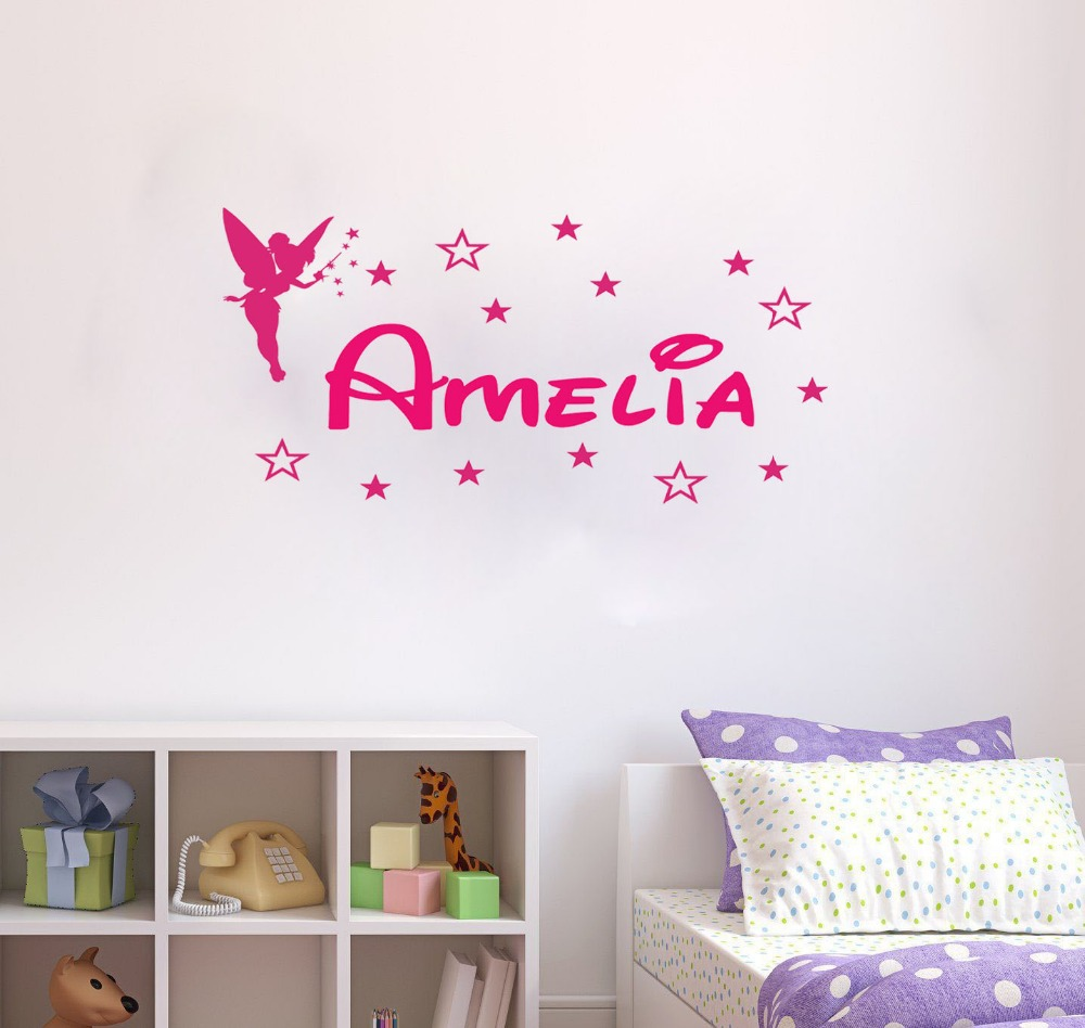 Personalized Tinkerbell Custom Name for Kids - Say Quote Word Lettering Art Vinyl Sticker Decal Home Decor Words(China (Mainland))