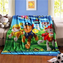 Cartoon Pawed Puppy La Patrulla Canina Patrolling Plush Flannel Blanket  Throws Bed/Sofa/Air Cover Kidu0027s Child BedSheet Kitty