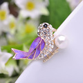 Newest Enamel Esmalte Birds Animal Brooches With Pearl Oro plated Crystals Broches Wedding Hijab Scarf Pins