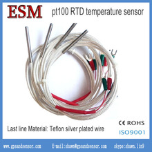 Teflon silver plated wire Industrial Use SS304 4*100*1000 3-wire A grade RTD PT100 temperature Sensor(China (Mainland))