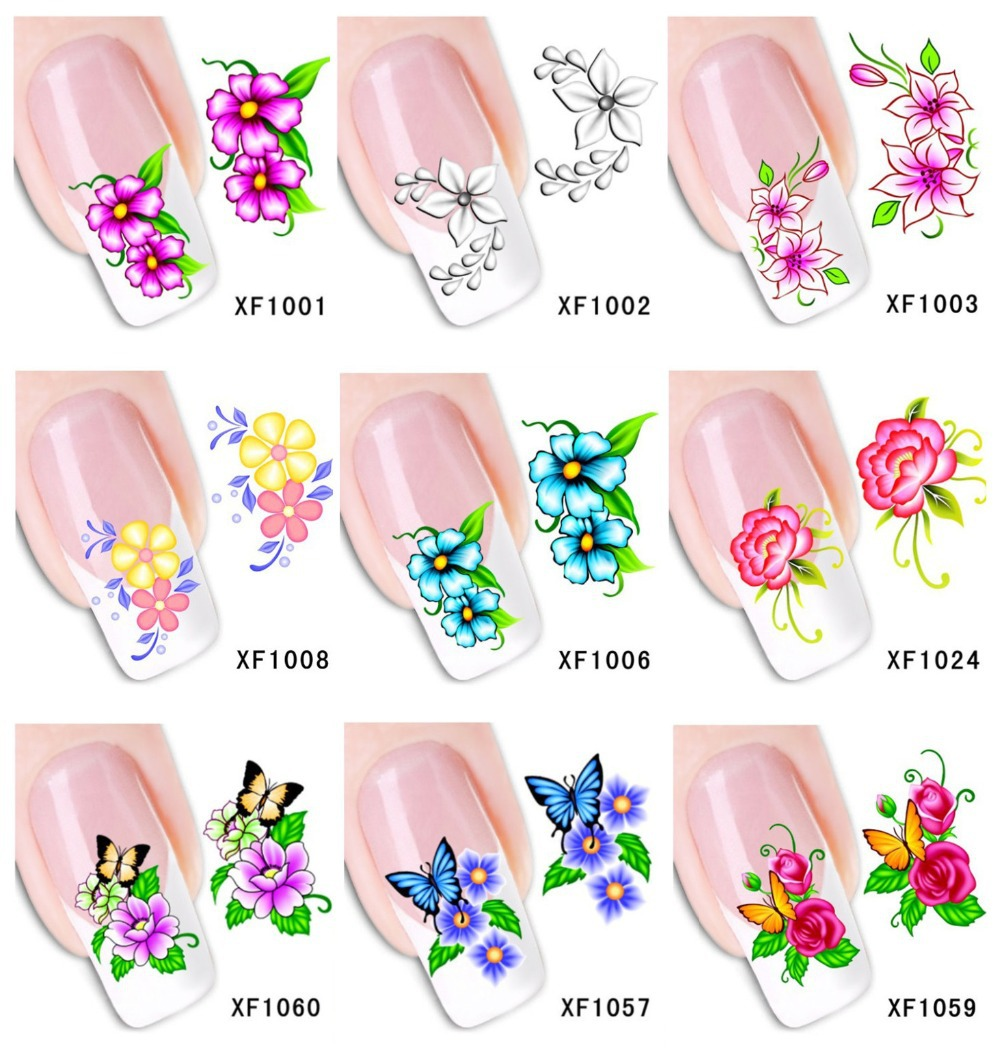 60Sheets XF1001-XF1060 Nail Art Water Tranfer Sticker Nails Beauty Wraps Foil Polish Decals Temporary Tattoos Watermark - Blingway Care products Co., Ltd. store