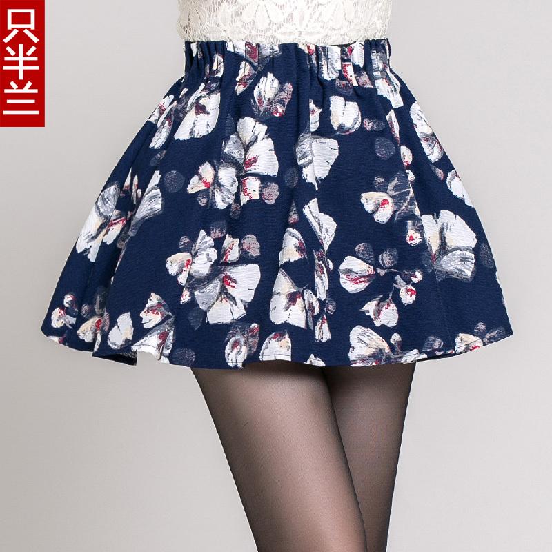 2014 autumn winter faldas womens puff skirts Lolita pleated skirts female short skirt tutu floral saia curta plissada plissada