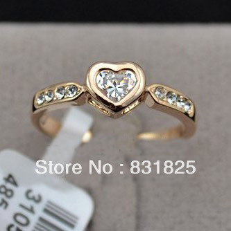 18K Rose Gold Plated Heart Shape CZ Stone Love Finger Rings, simple love ring, promise ring for her(China (Mainland))