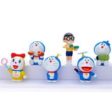 6pcs/set Anime Doraemon movie Nobita Nobi pokonyan mini figure pvc doll toy for collection cute toy children gift