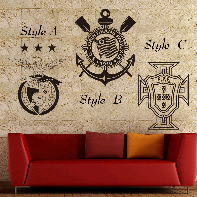 Art design cheap home decoration Portugal football Club Mark sports Wall Sticker removable Brazil soccer team sign decor decals(China (Mainland))