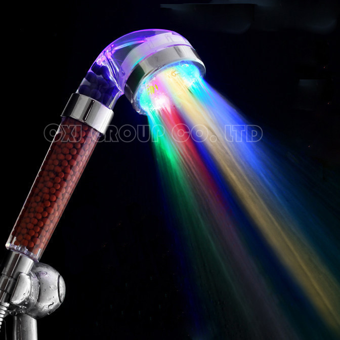 Free Shipping 7 Colors Change Led shower Tourmaline SPA Anion Hand Held Bathroom Led Shower Head Filter Hand Shower Saving Water(China (Mainland))