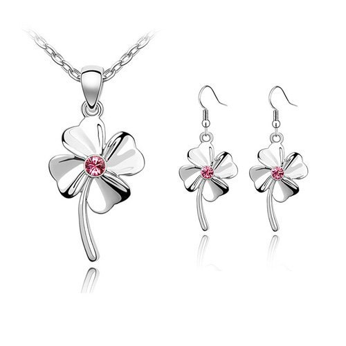 Graceful Clover Crystal Set Jewelry Make with Austrian Crystal Include Earrings+Necklace/Happiness Clover#83264