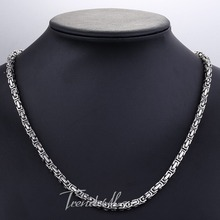 Customize ANY Length 5 6 7mm Wide Byzantine Box Mens Chain Boys Stainless Steel Chain Necklace