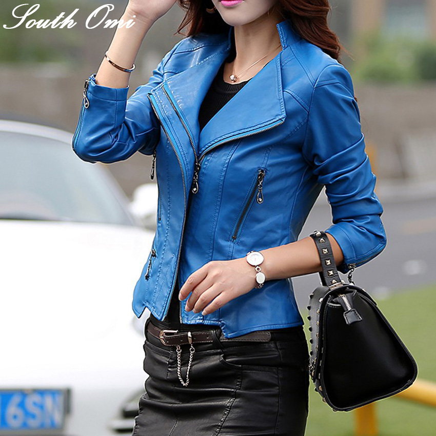 fashion female blue leather jacket models long-sleeved zipper women's coats women veste cuir femme - South Omi Fashion store