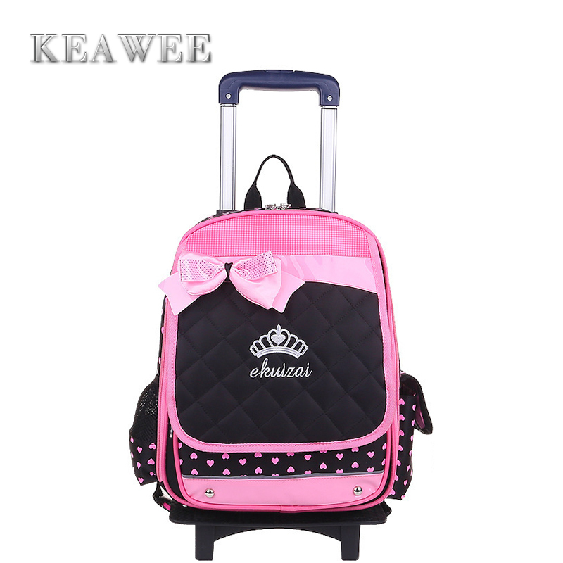 Fashion Children School Trolley Bags Kids Case Girls Backpack Female Bag Child Backpacks Grade 1-6 Tote