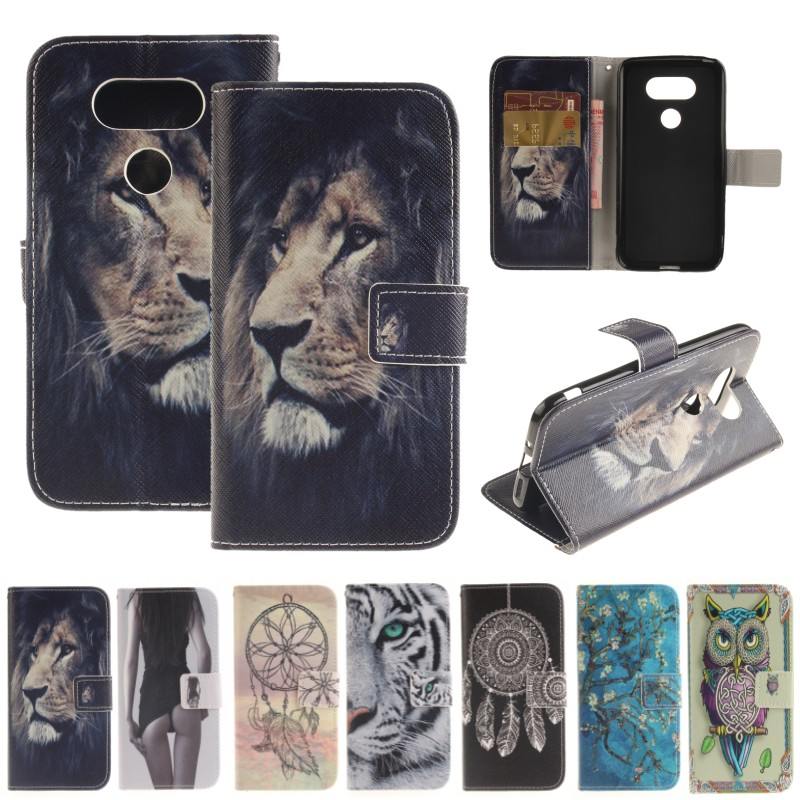 Phone Bag for LG G5/K4/K7/K10 Art Print Owl Tiger Lion Sexy Lady Painting Flip PU Leather Case with Card Holder Magnet Cover(China (Mainland))