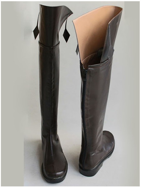 plus size attack on titan boots brown leather thigh high