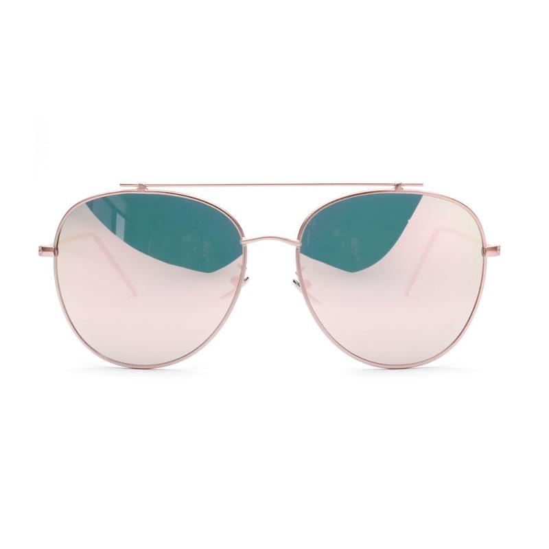 women's mirrored aviator sunglasses 950l  Sunglasses Brand Designer Women Mirror Lens Sun Glasses Rose Gold Metal  UV400 Lentes HotChina