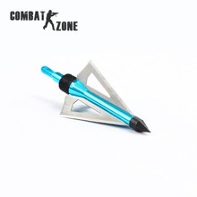 3Pcs pack Hunting Slingshot Arrowhead Aluminum Tips Steel Blades Blue Arrow Head for Shooting Compound Long