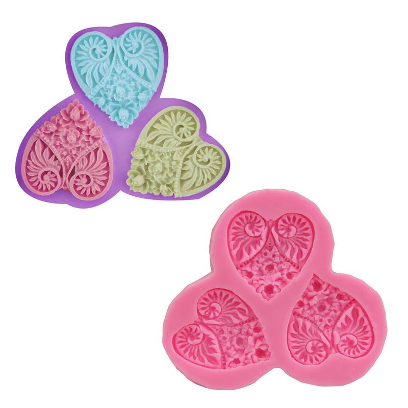 New Three heart shaped flower resin molds fondant mold silicone mold silicone cake mold fondant cake decorating tools(China (Mainland))