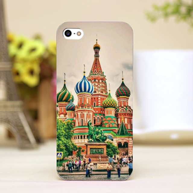 pz0068-114 Russia Red Square castle cartoon Design phone transparent cover cases for iphone 4 5 5c 5s 6 6plus Hard Shell(China (Mainland))