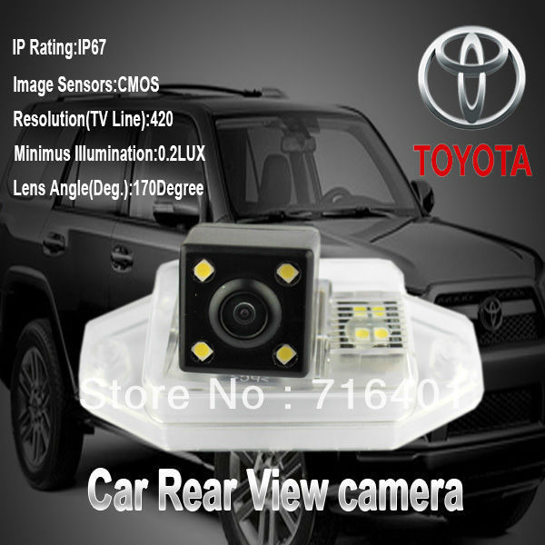 Free shipping whole sale price hot For Toyota PRADO reverse led rear car camera night vision 170 degree waterproof