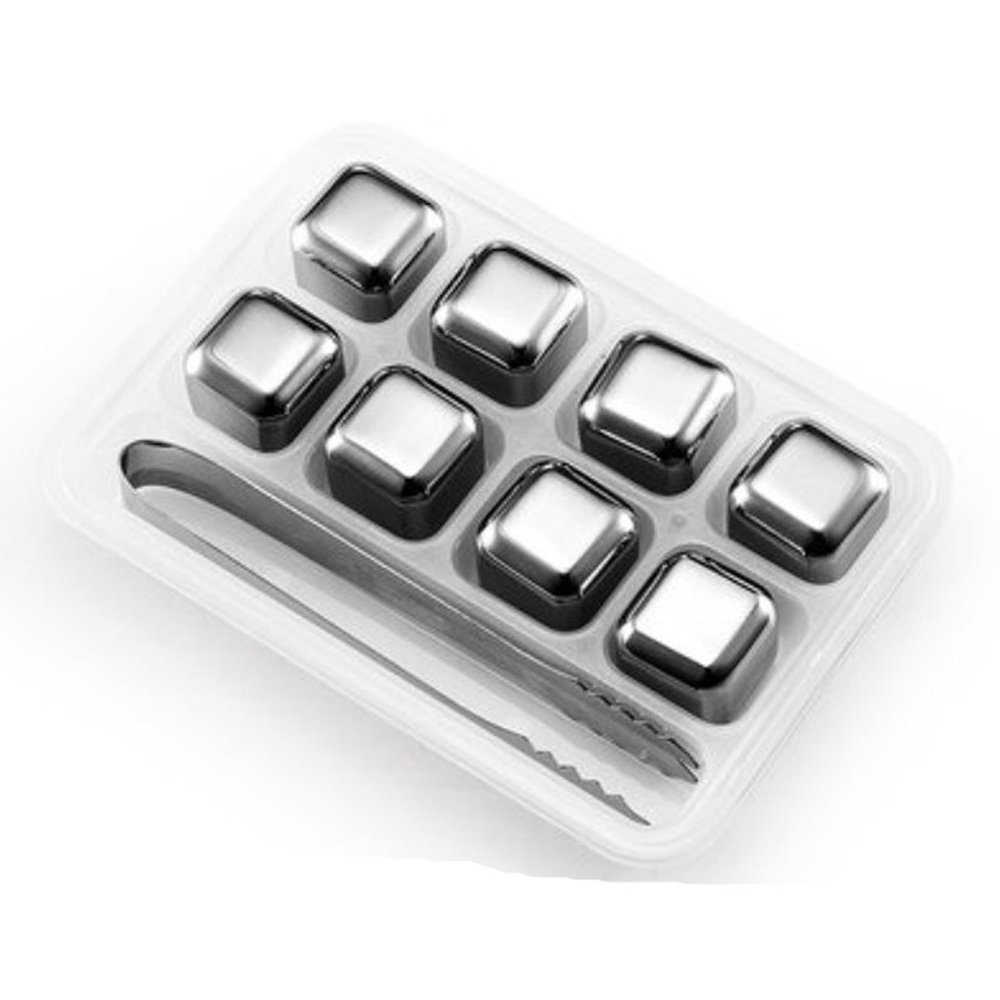 Set of 8 Stainless Steel Whiskey Stones Cube Glacier With Plastic Storage Box Tongs Drink Chilling Reusable Whiskey Ice Cubes(China (Mainland))