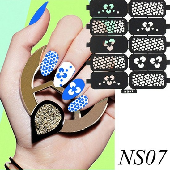 wholesale Reusable Unique Pattern Stamping Nail Art Hollow Template Diecut Stencil Sticker Decal Guide 200pcs/lot free shipping<br><br>Aliexpress