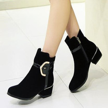 2016 new fashion high heels ankle boots zipper black quality suede square heels autumn women boots winter shoes