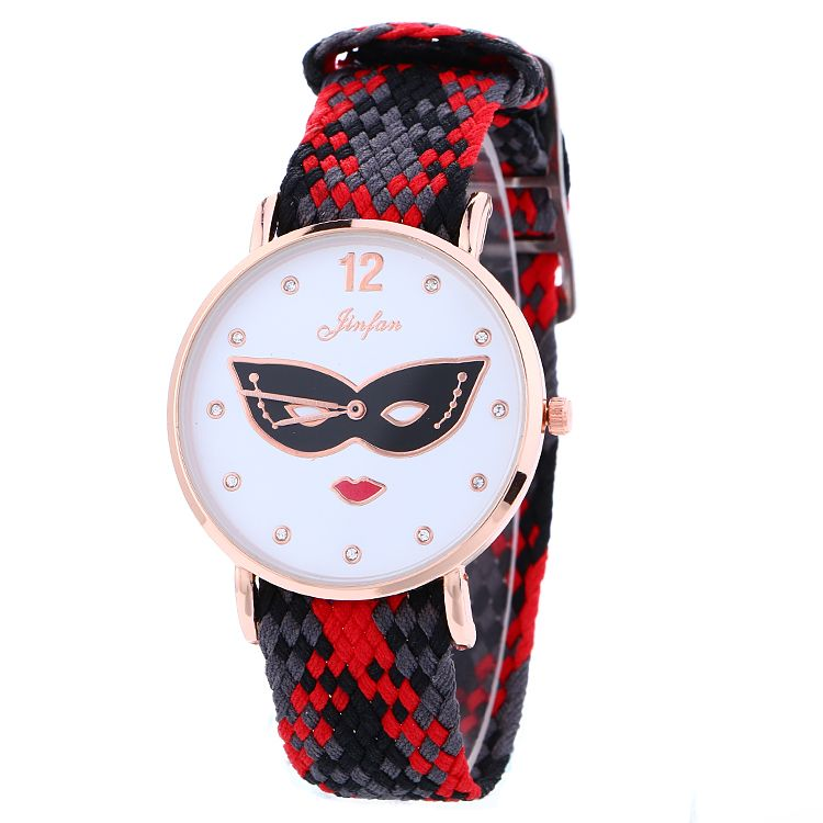 coloured watches for men promotion shop for promotional coloured fashion mask eye mouth bracelet watch mens womens unisex leisure dress quartz weave rope colourful bands 2016 whole watches
