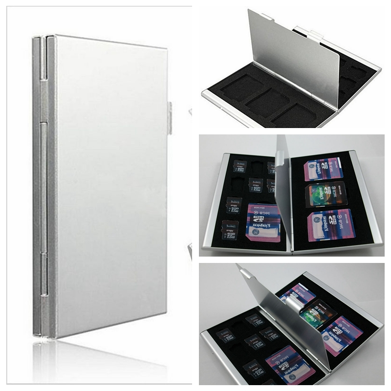 1 PCS High Quality Aluminum 8x TF 4x SD Memory Card Storage Box Case Holder Protector(China (Mainland))