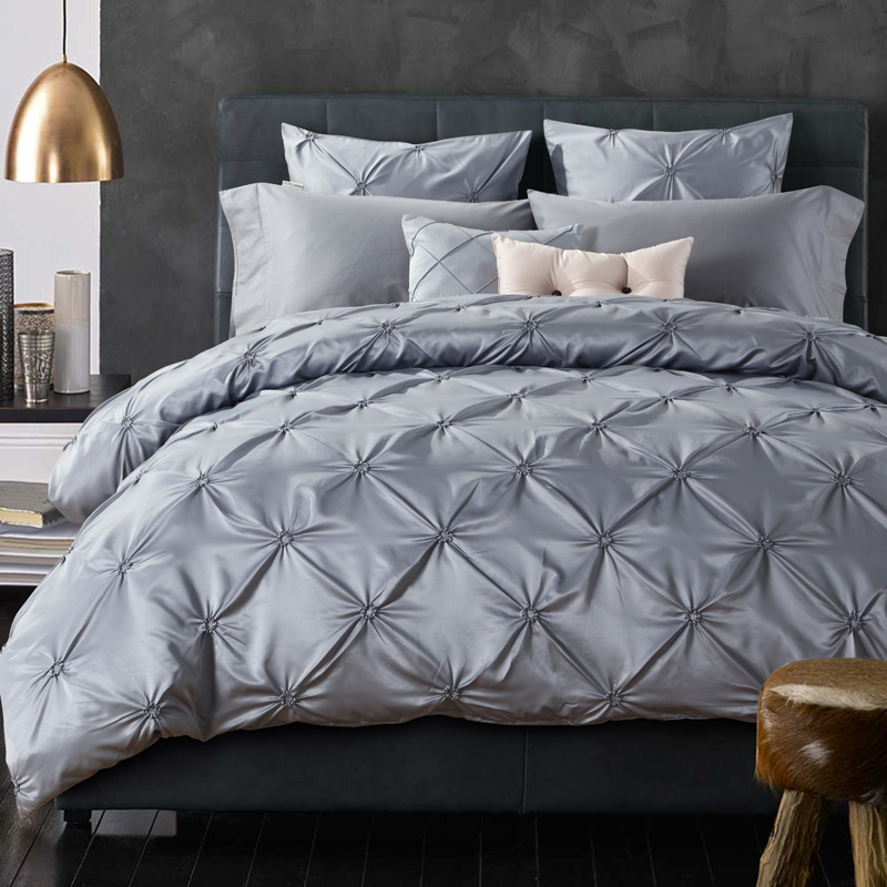 Night Tender pleated washed silk fisher net king queen size duvet cover set/silver(China (Mainland))