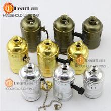 Fábrica venta al por mayor precio Vintage Retro sostenedor del zócalo E26 / E27 Base de lámparas, oro / plata / UL cobre / 110 - 240 v interruptor de la perilla Base ( DD-50 )(China (Mainland))