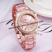 100pcs/lot,Women Geneva Steel Watches Fashion Dress Diamond Lady Gift Metal Wrist Watch Alloy Watches Analog Man Watches(China (Mainland))