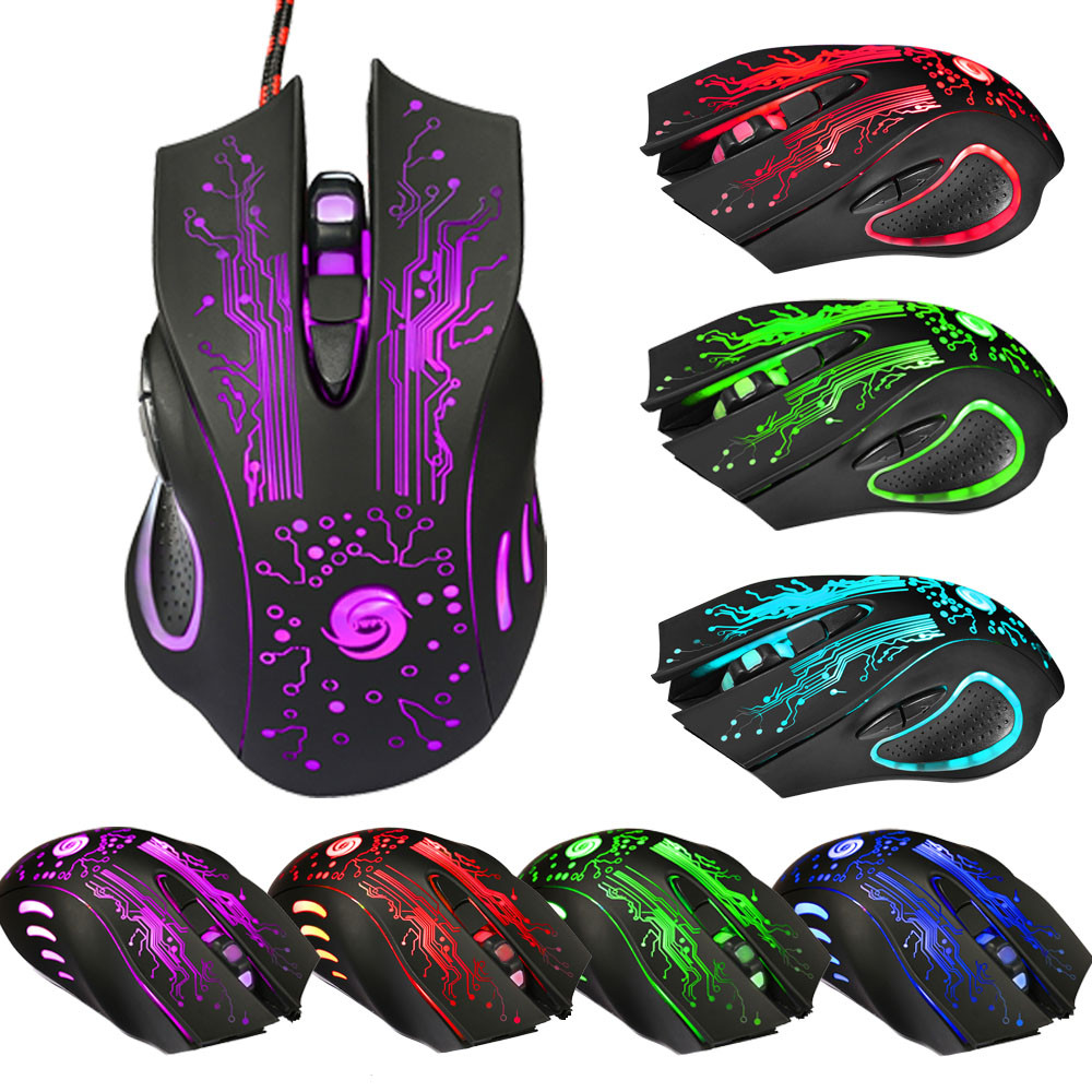 Mause 7 Color Breathing Lights Gaming Mouse For Pc Compute Laptop 6 Buttons 5 Adjustable DPI For Choice free Shipping(China (Mainland))
