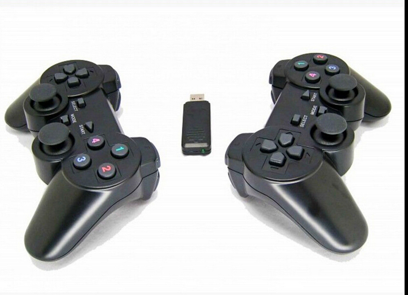 2 PCS 2.4GHz Black USB Wireless Shock Gamepad Controller ...