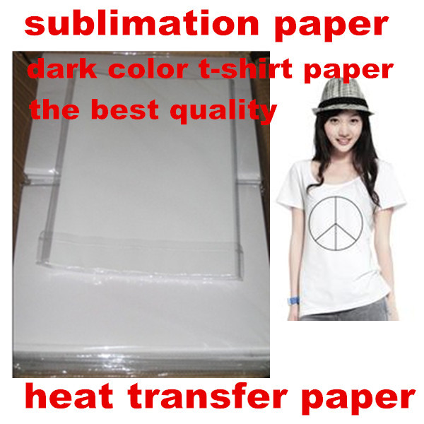 A4 size heat transfer DARK COLOR t-shirt sublimation paper for heat transfer machine, good performance and free shipping(China (Mainland))