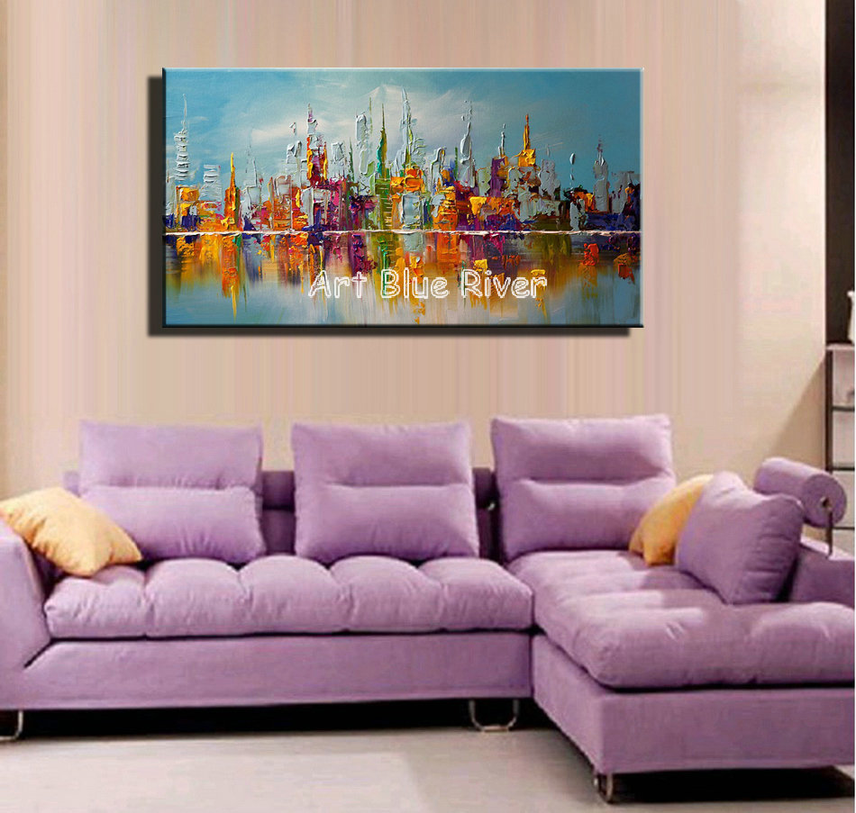 Large canvas wall art abstract modern decorative colorful for Large bedroom paintings