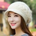 New Women Hat Winter Warm Beanies Fleece Inside Knitted Hats For Woman Rabbit Fur Cap Autumn