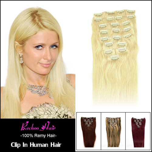 Clip In Remi Hair Extensions Medium Blonde Human Hair Clip In Extensions 8Pcs 100G Women'S Hair Premium Quality 70G To 175G(China (Mainland))