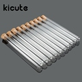 Kicute 10pcs pack Lab Glass Test Tube With Cork Stoppers 15x150mm Laboratory School Educational Supplies