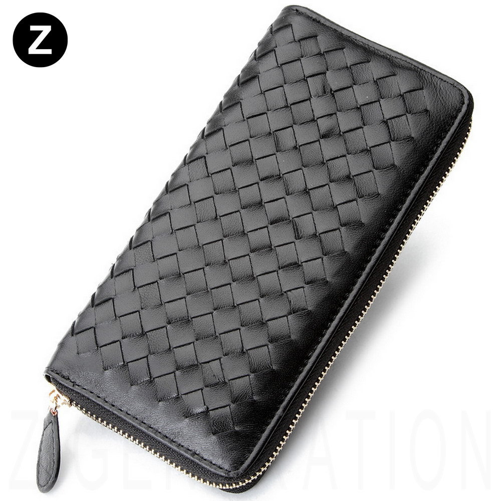Woven Genuine Leather Wallet Knitting Soft Leather High Quality Simple Luxury Women Basic Classics Clutch Case<br><br>Aliexpress