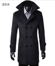 Free Shipping Winter Mens Cashmere Coat Long Wool Coat Men Double Breasted Trench Coat Mens Peacoat Coat Overcoats fashion 4XL(China (Mainland))