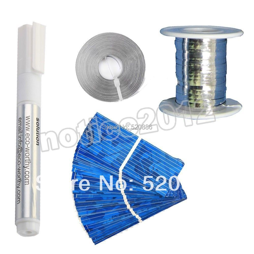 40pcs 52 19mm solar cells Tabbing wire  Bus wire Flux pen for DIY solar free shipping price(China (Mainland))