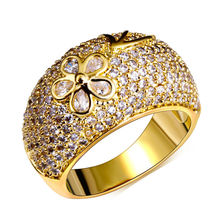 Buy Women's Super Cute Hawaiian Flower Style Cocktail Rings Dome Shape Synthetic Cubic Zirconia Paved Rhodium Gold-color for $13.46 in AliExpress store