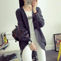 Spring Autumn Winter Women Dress Fashion Solid Candy Color Knitted Cardigan Sweater Coat Drop Shoulder Bold