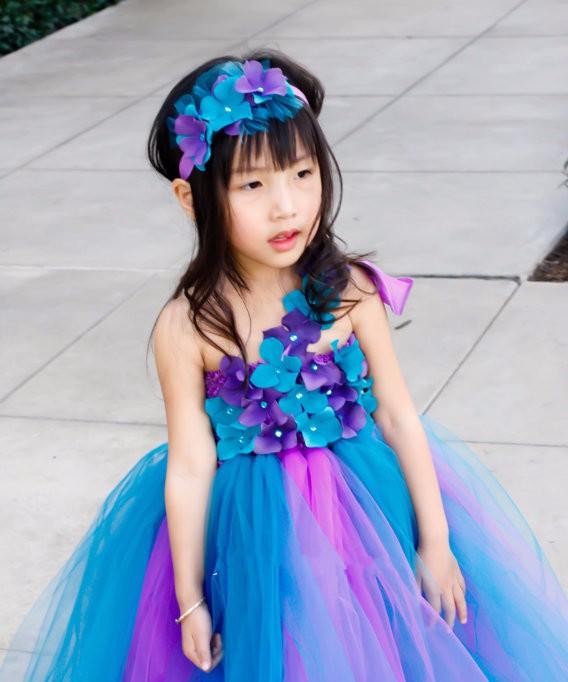 Скидки на Детская одежда Красочные Светло-голубой девушки платье/Симпатичные Сетки платье Принцессы/Настроить производительность Девушки платья Танец одежда