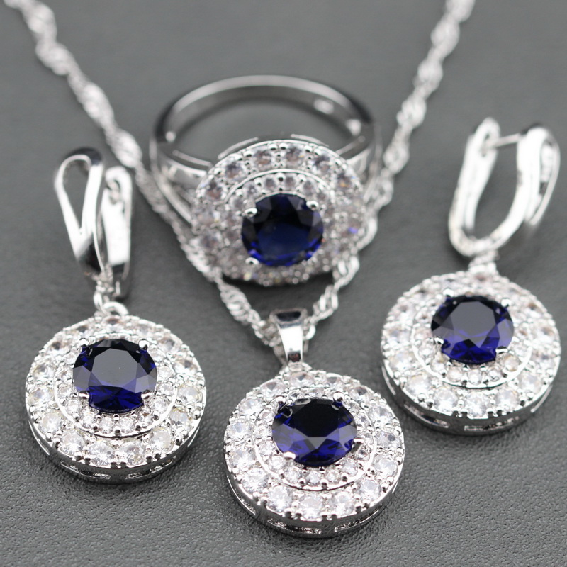 2015 New Blue Sapphire 925 Sterling Silver Jewelry Set Earrings / Pendant / Necklace / Ring For Women Free Gift Box TZ109(China (Mainland))