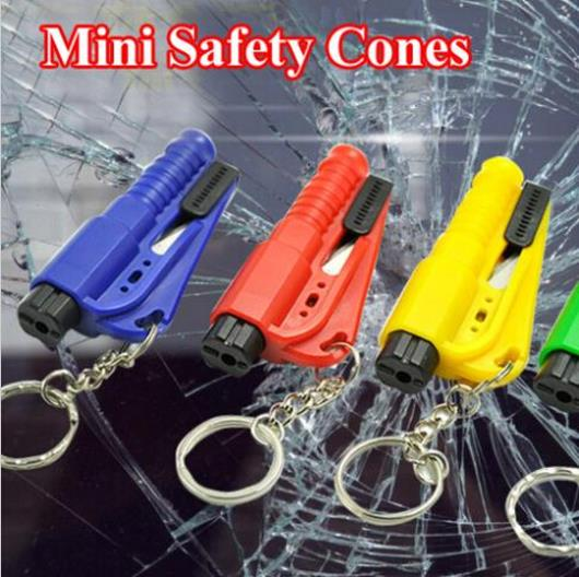 Free Shipping Car Safety Cones Hammer Auto Keychain Knife Auto Emergency Rescue Tool Outdoor Glass Break Equipment(China (Mainland))