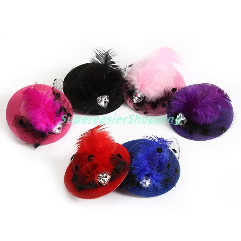 6pcs/lot Mini Hair Clip Heart Shaped Crystal Gauze Feather Fascinators Party Hat Clip Girls&Kids Headwear(China (Mainland))