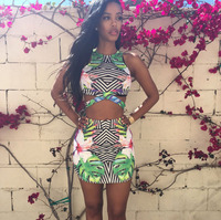 2015summer New Arrival Sexy Party Tribal Print Skirt Set  Free Shipping Two Piece Bodycon Bandage Crop Top And Skirt Set Zc01576