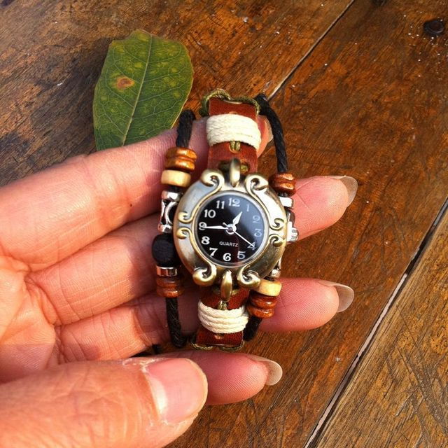 Free shipping 1 lot/10pcs Antique leather bracelet watch vintage ladies watch national wind