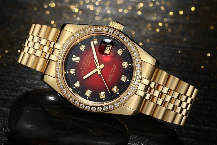 38 ММ SANGDO мужские часы Автоматическая Self-ветер движения Высокое качество Роскошные Механические часы 329FFF