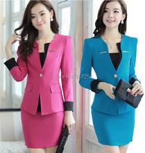 2014 New Plus Size 4XL Spring Autumn Women's Formal Suits With Skirt  Uniform Sets for Business Women Work Wear Plus Size XXXXL