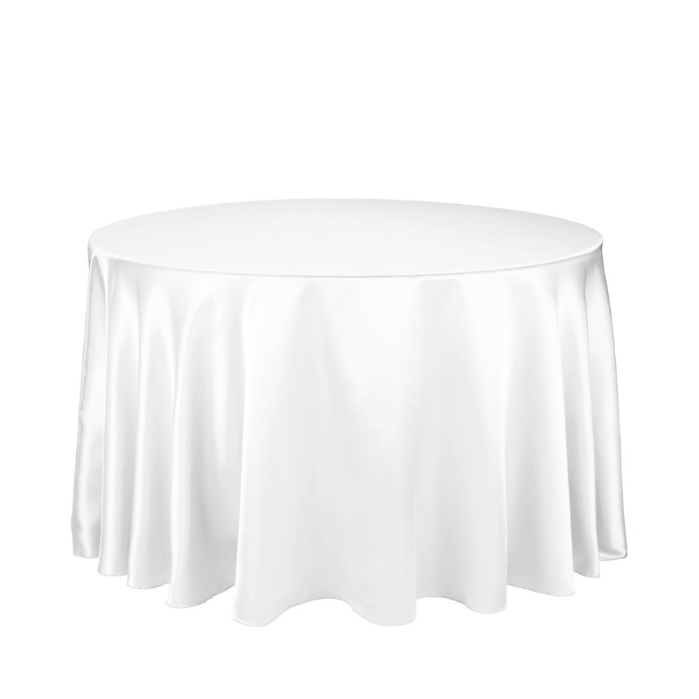 Fedex IE Stain Feel 108 in. Round Satin Tablecloth White for Banquet, 20/Pack(China (Mainland))
